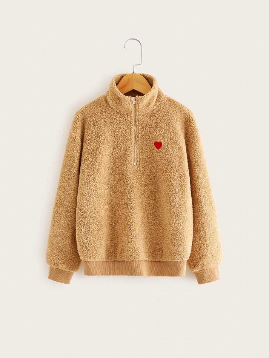 Girls Zip Half Placket Heart Patched Teddy Sweatshirt