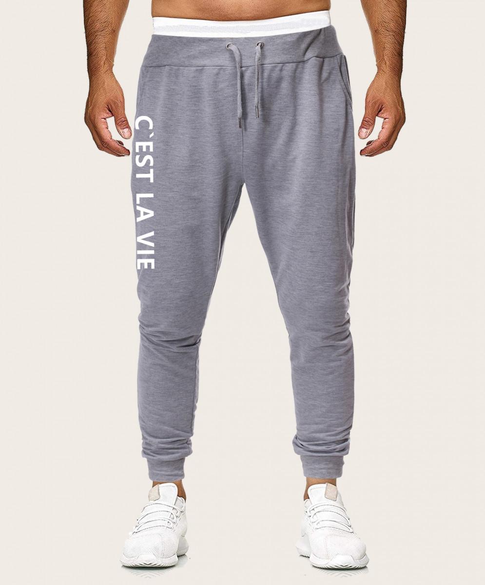 Men Letter Print Drawstring Sweatpants