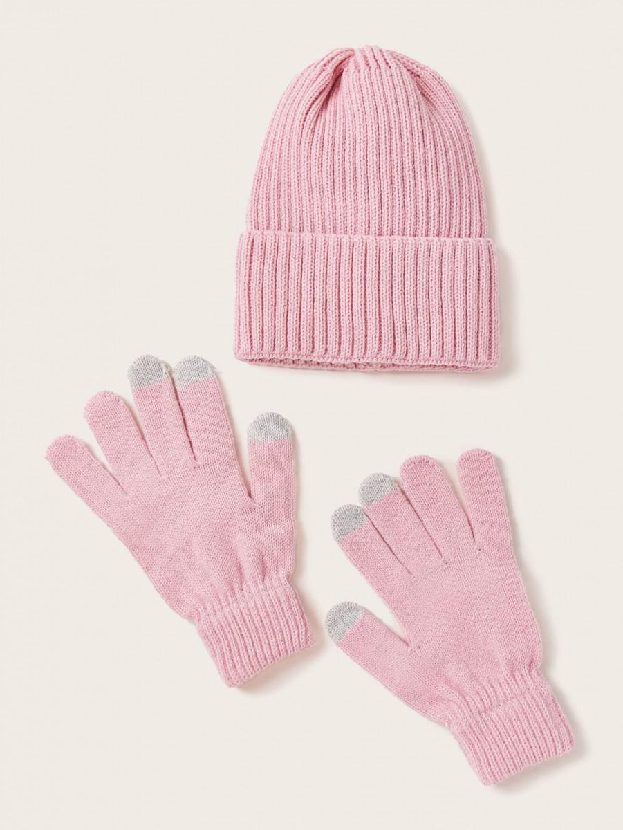 3pcs Ribbed Beanie & Gloves