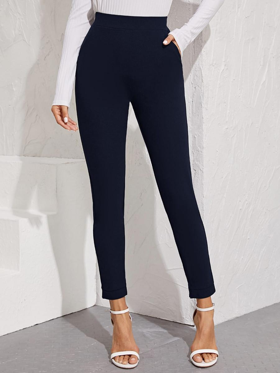 Elastic Waist Split Hem Pants