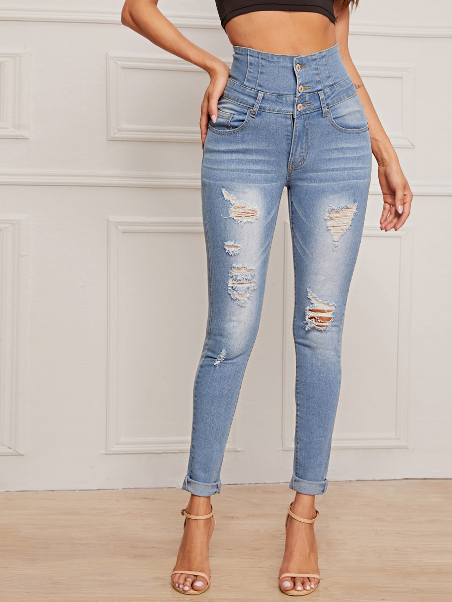 Ripped Button Front Skinny Jeans