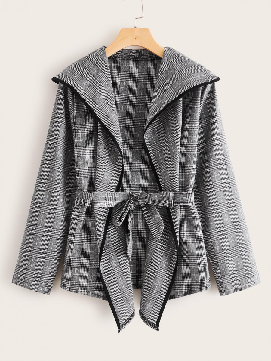 Contrast Binding Plaid Self Tie Coat