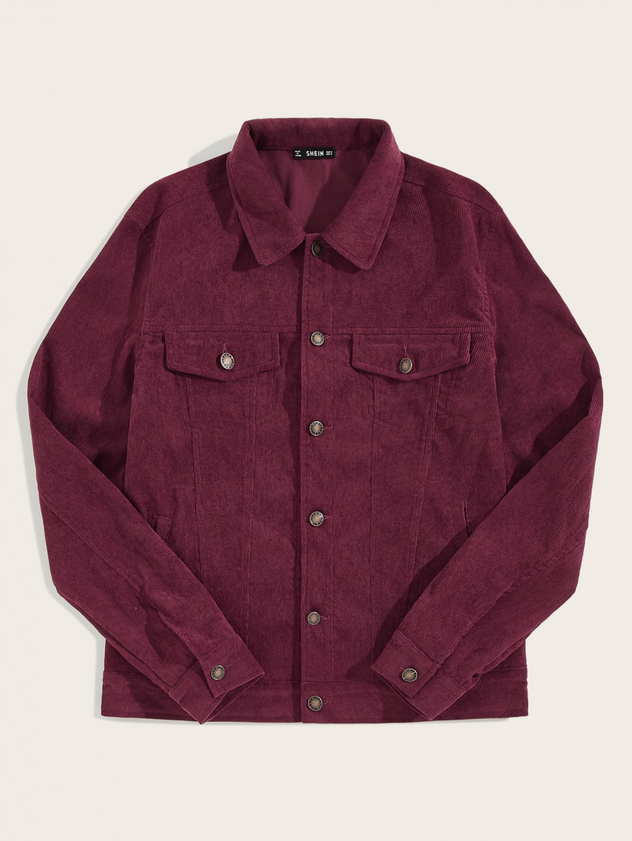 Men Flap Detail Corduroy Jacket