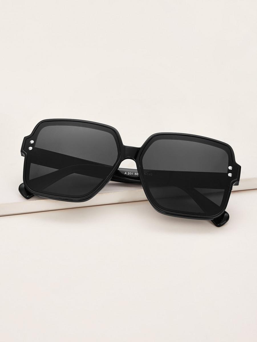 Rivet Decor Flat Lens Sunglasses