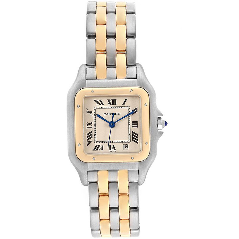 Cartier 18K Yellow Gold Silver Stainless Steel Panthere W25028B8 Mens Wristwatch 26x36MM