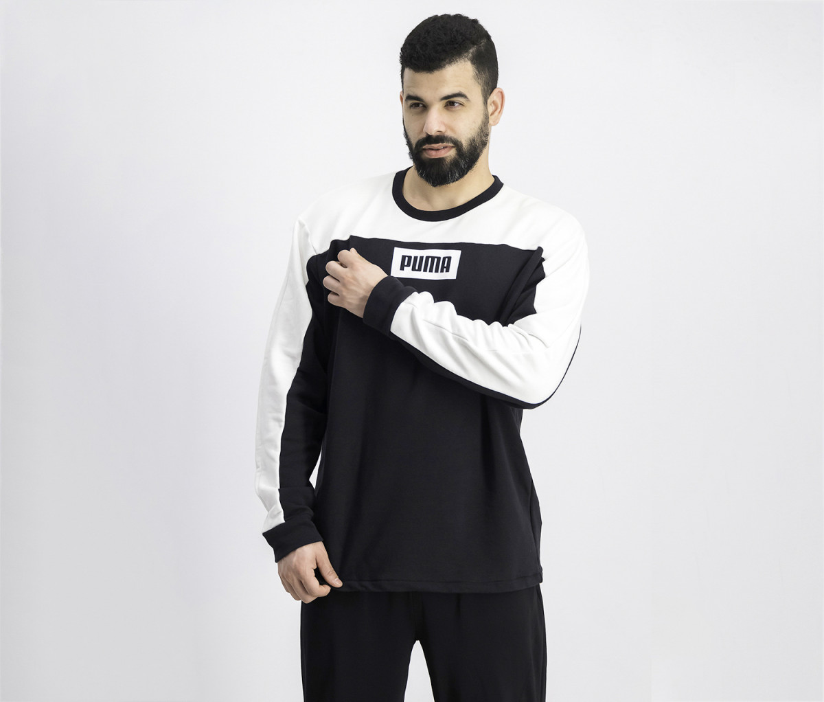 Puma Hummer Mens Training Knit Sweater  Black/White