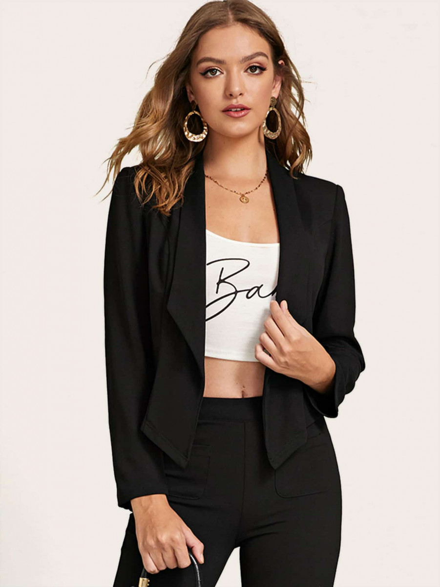 Draped Collar Solid Tailored Blazer