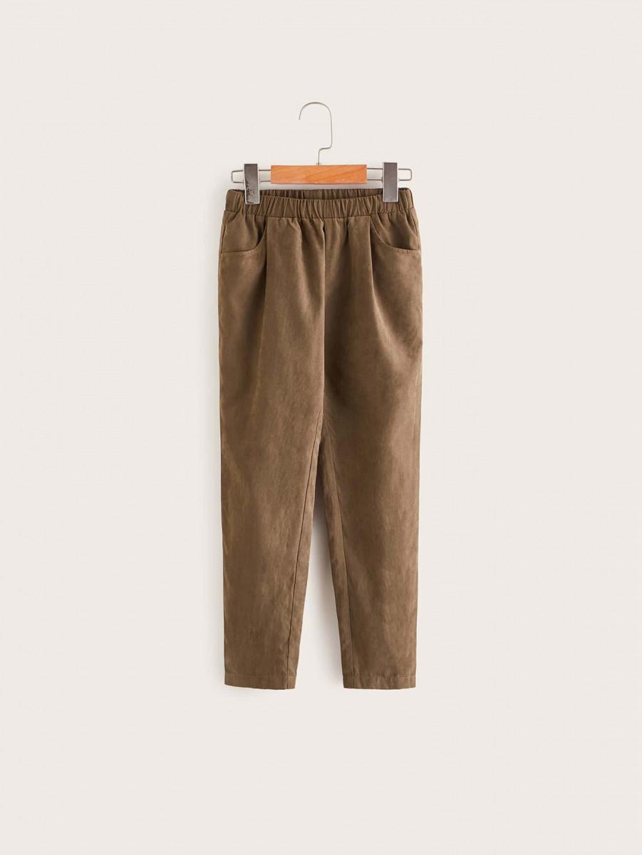 Boys Elastic Waist Solid Pants