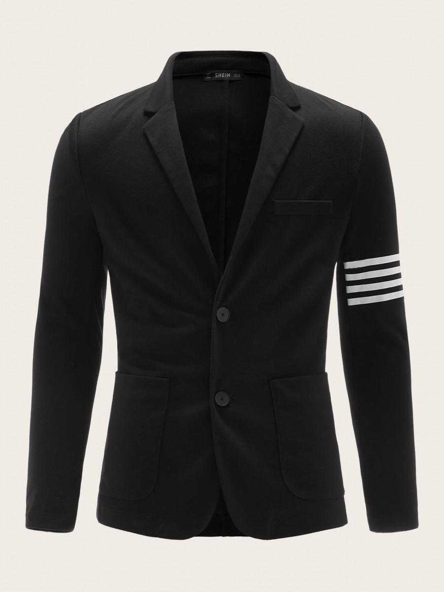 Men Notched Collar Striped Sleeve Blazer