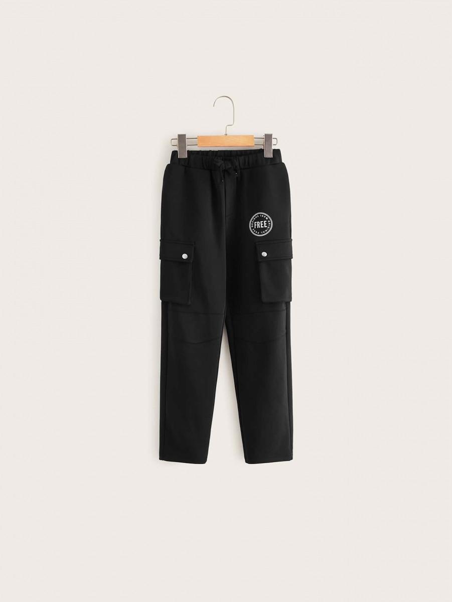 Boys Letter Graphic Flap Pocket Side Pants