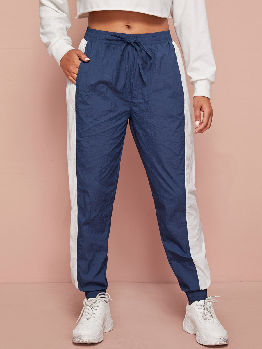 Contrast Panel Drawstring Waist Windbreaker Joggers