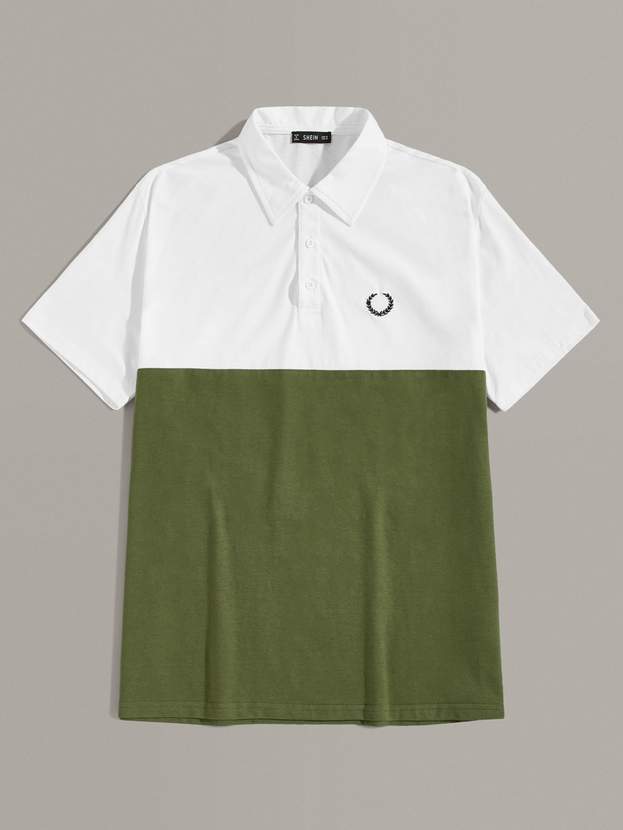 Men Embroidered Detail Two Tone Polo Shirt