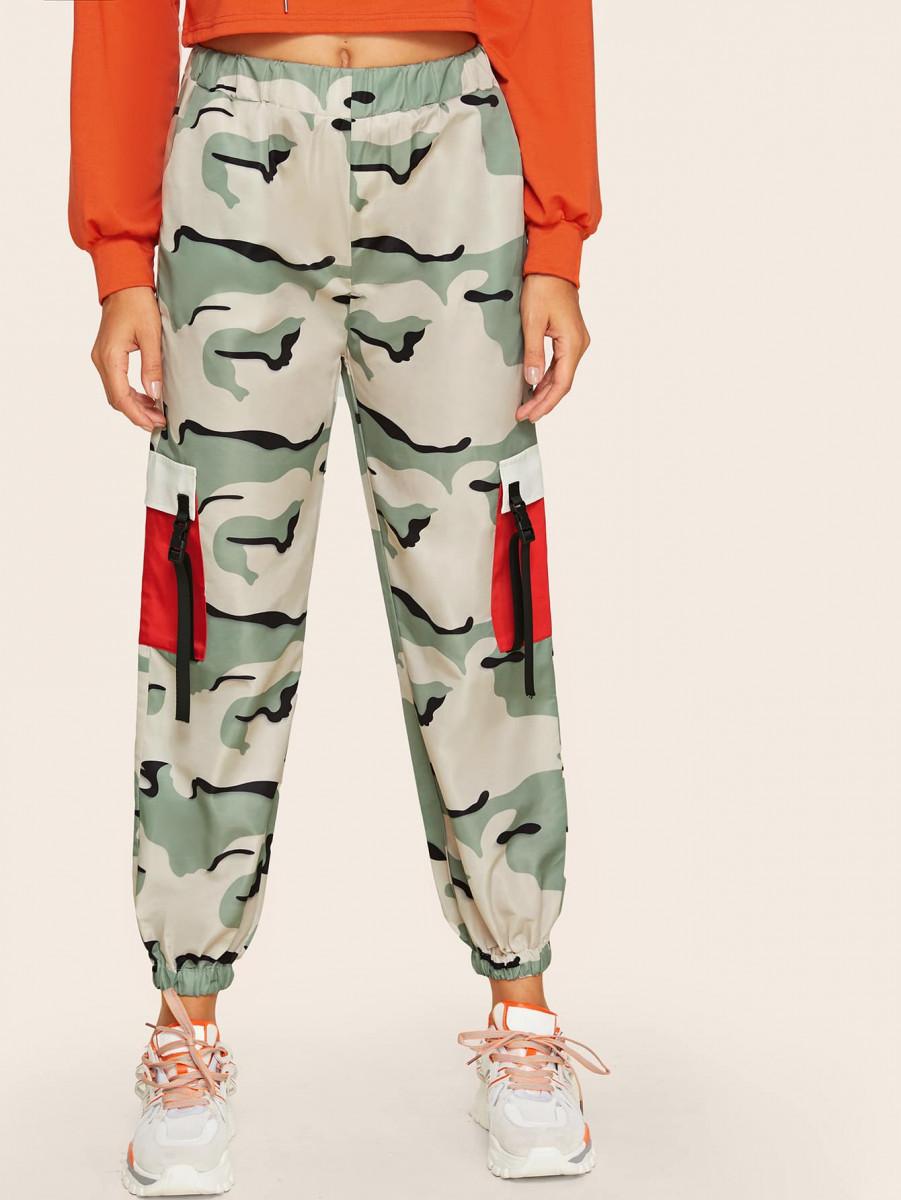 Camo Print Buckle Tape Side Pocket Cargo Pants