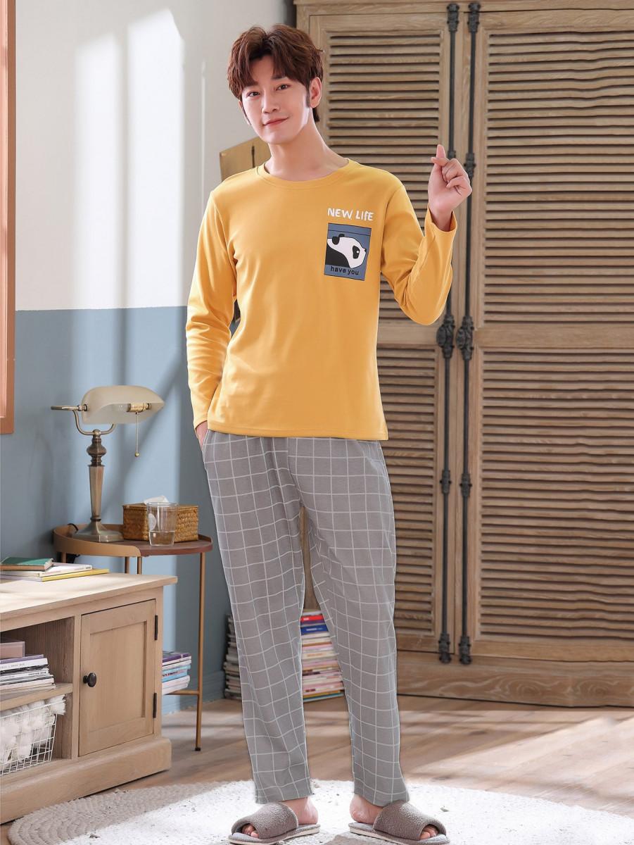 Men Cartoon And Plaid Print Pajama Set