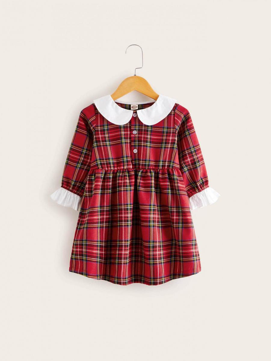 Toddler Girls Contrast Collar Half Button Tartan A-line Dress