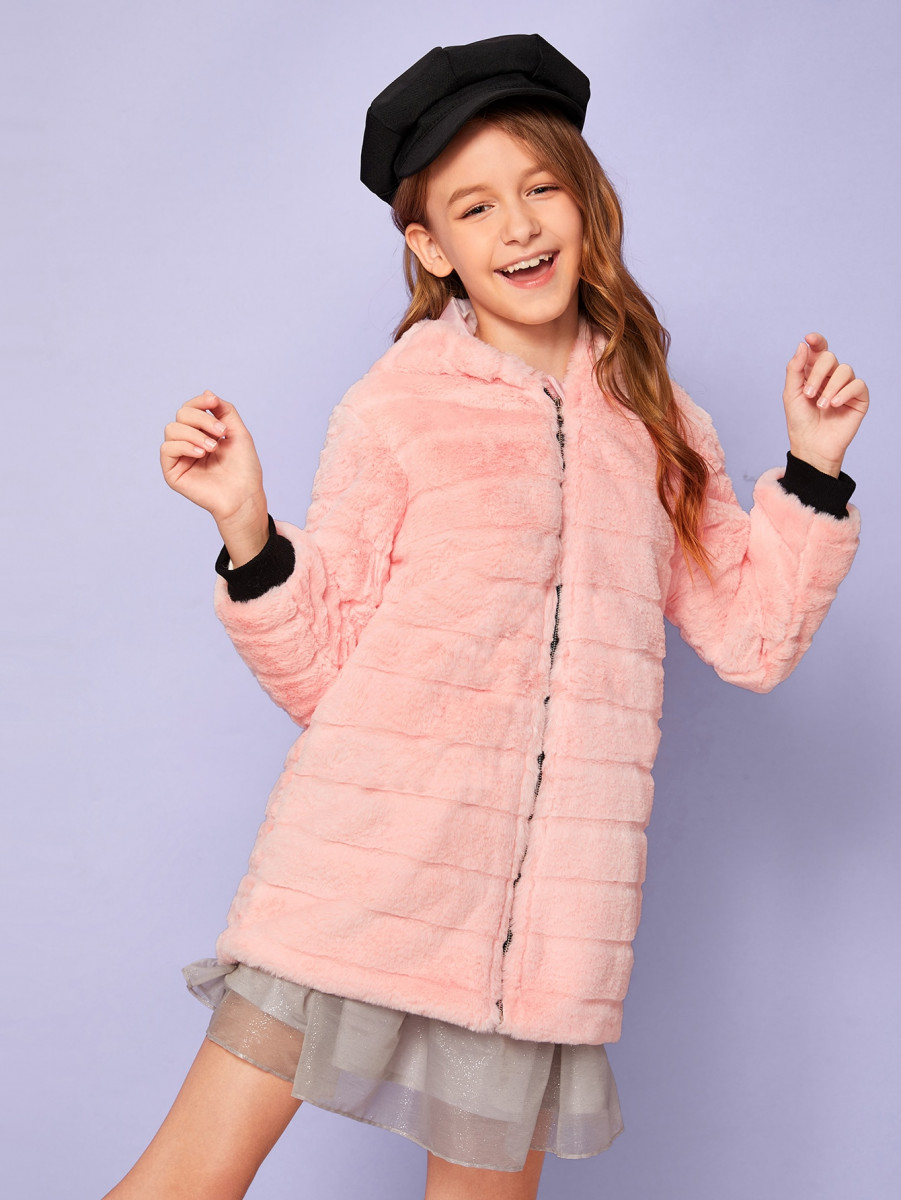 Girls Contrast Ribbed Cuff Zip Up Faux Fur Coat