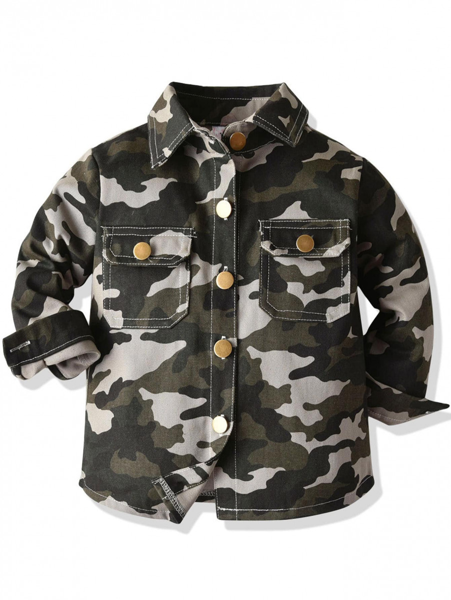 Toddler Boys Flap Pockets Camo Utility Jacket