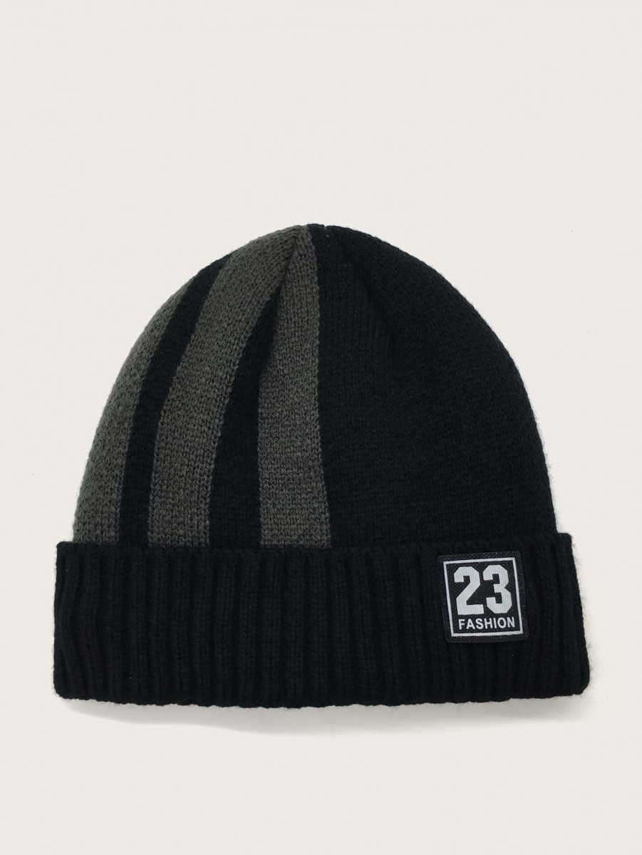 Men Number Patched Cuffed Beanie