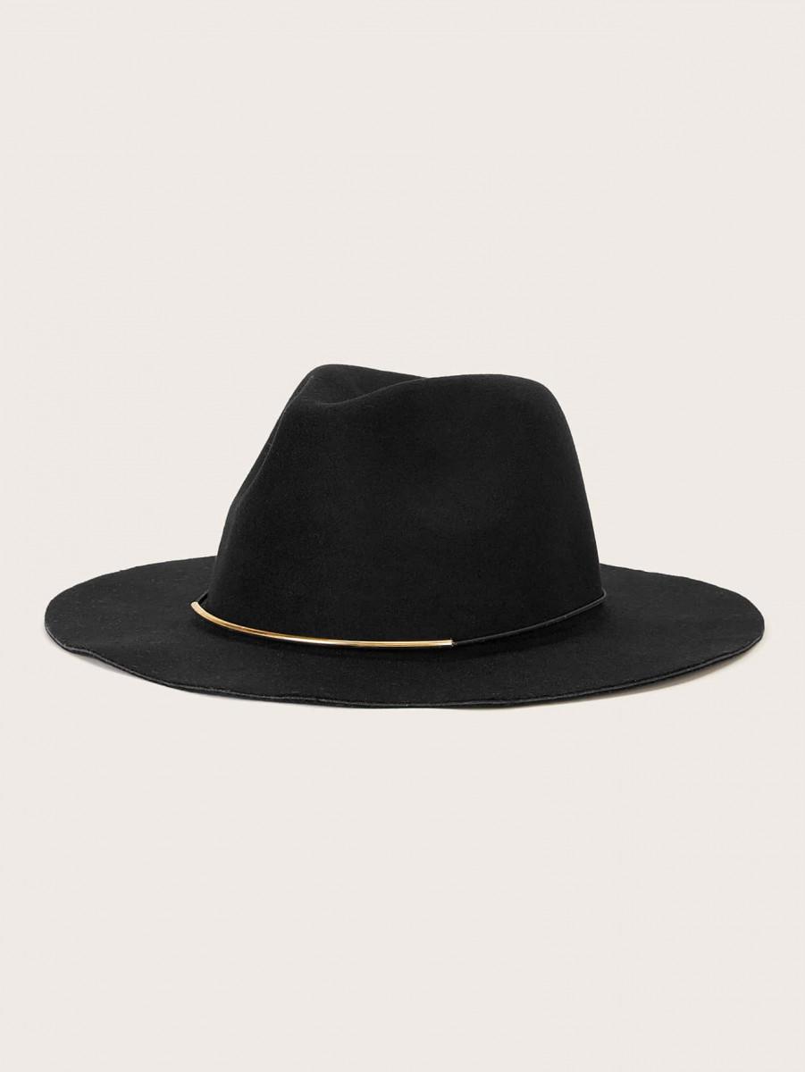 Half Metal String Decor Floppy Hat