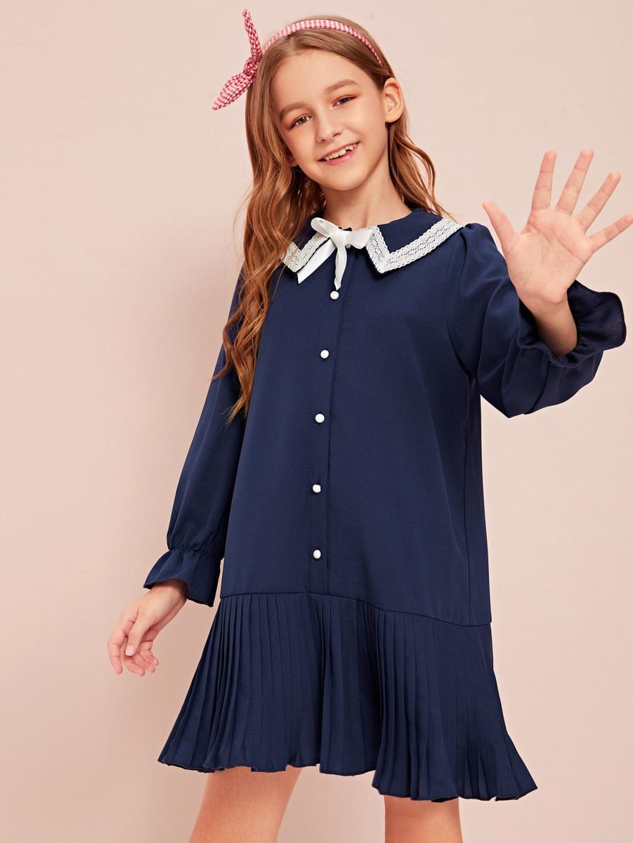 Girls Bow & Lace Detail Flounce Sleeve Pleated Hem Dress
