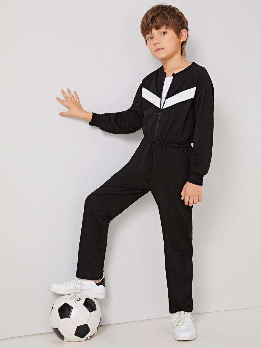 Boys Zip Front Raglan Sleeve Jumpsuit