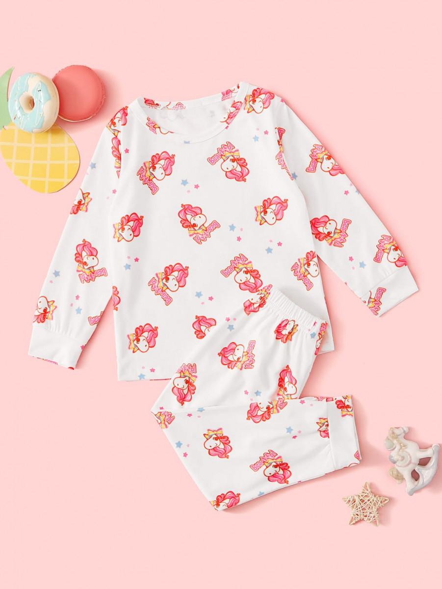 Toddler Girls Unicorn Print PJ Set