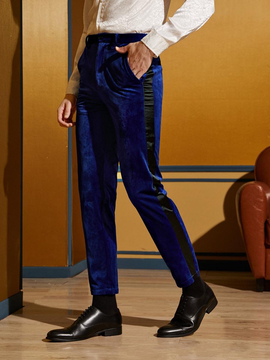 Men Contrast Satin Side Seam Velvet Tailored Pants