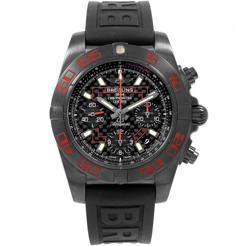 Breitling Black Stainless Steel Chronomat Blacksteel Carbon MB0141 Men's Wristwatch 44 MM