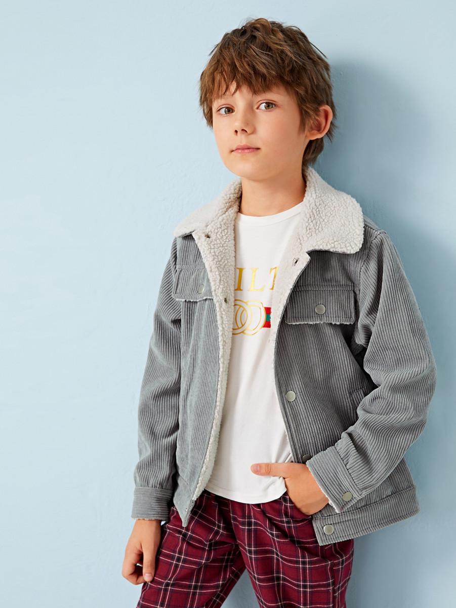 Boys Contrast Lining Cord Trucker Jacket