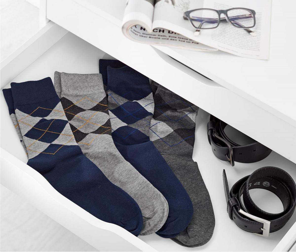 Mens Argyle Socks Set of 4  Light Grey/Grey/Blue/Dark Blue