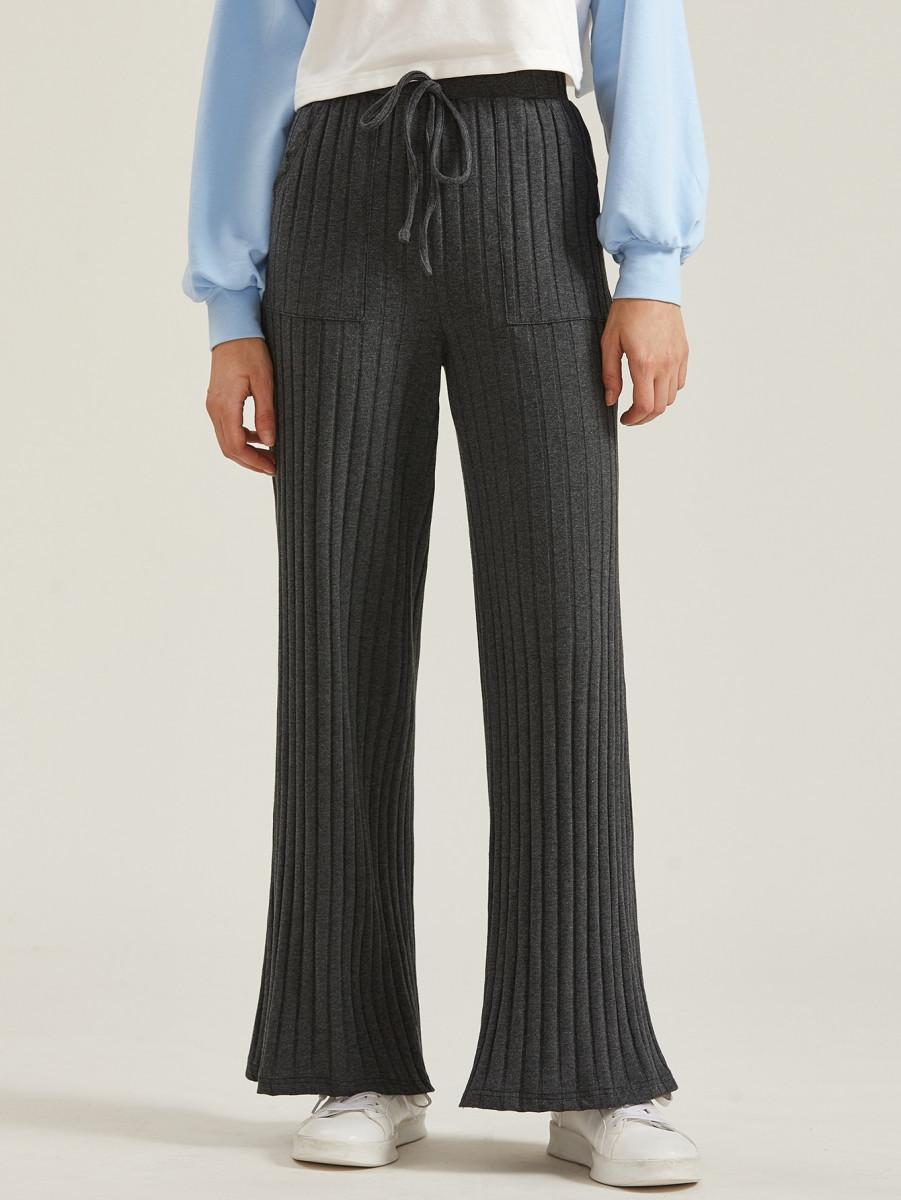Pocket Front Rib-knit Wide Leg Pants