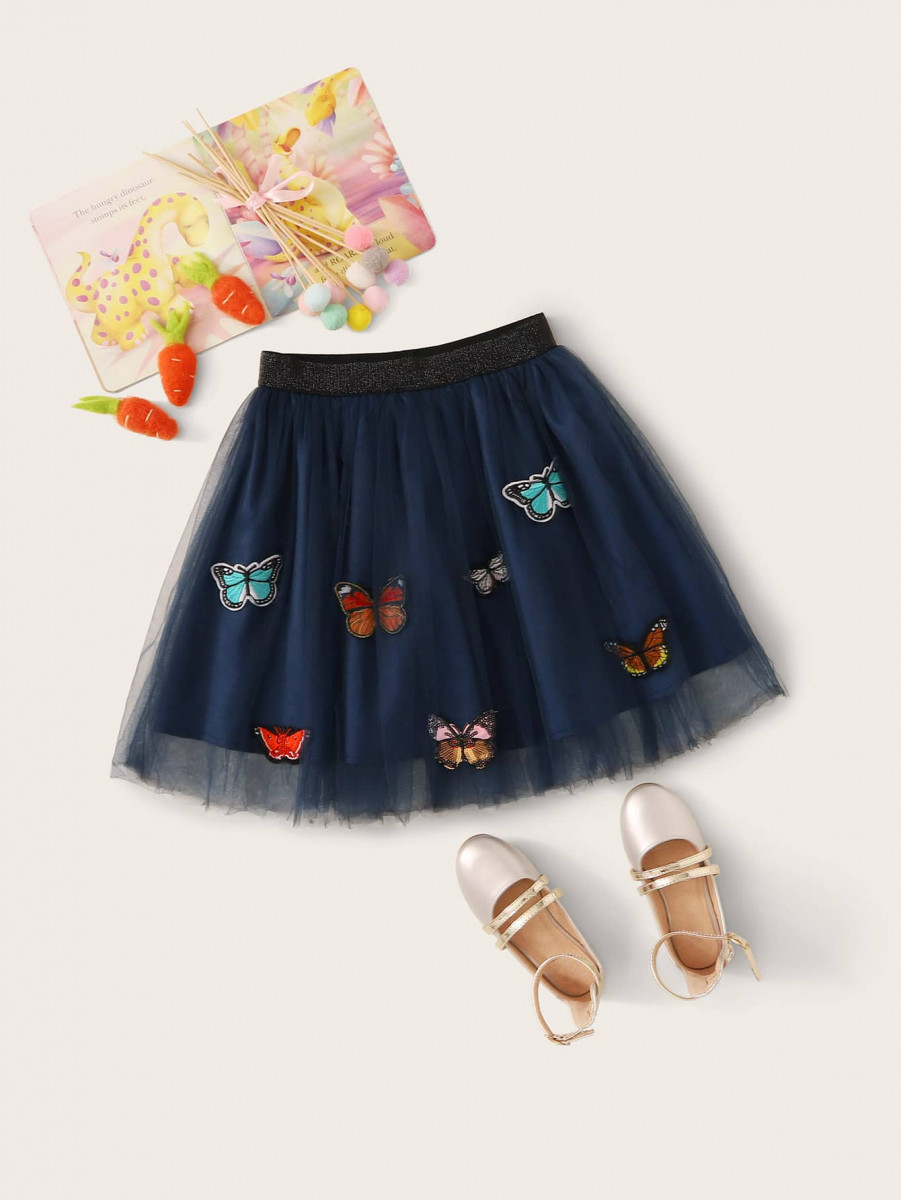 Girls Embroidered Butterfly Glitter Waist Mesh Overlay Skirt