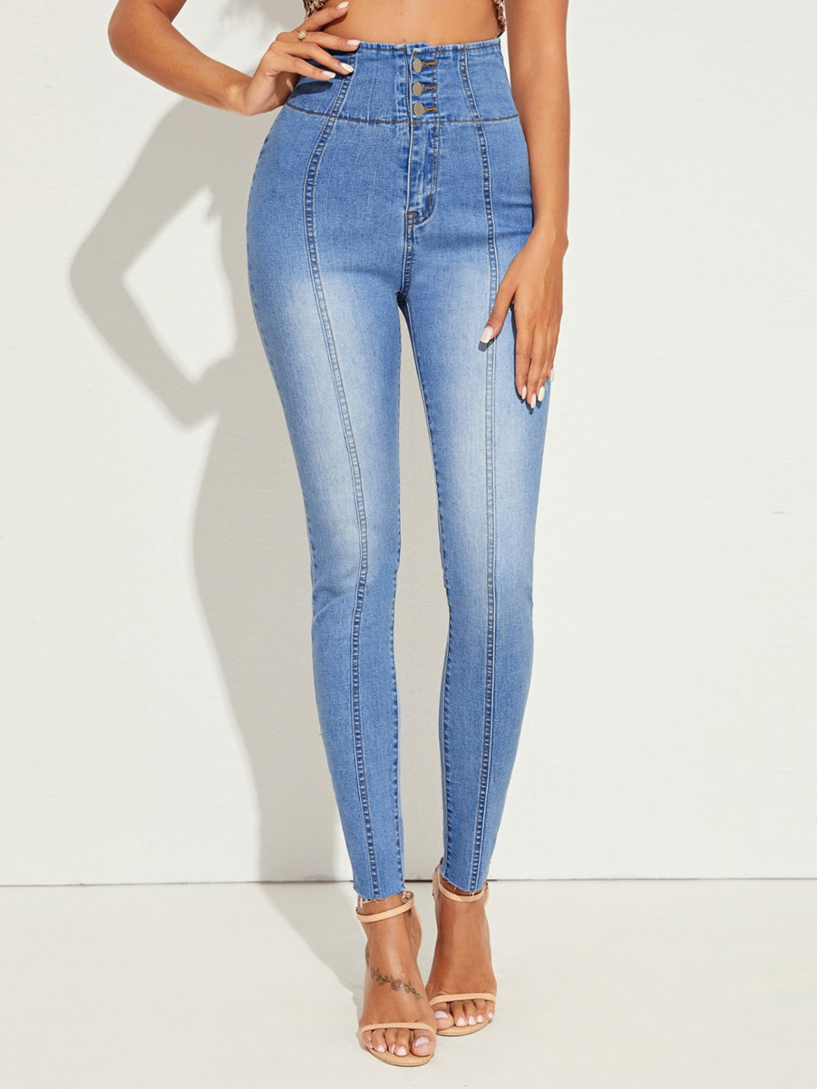 Washed Topstitching High Waist Skinny Jeans