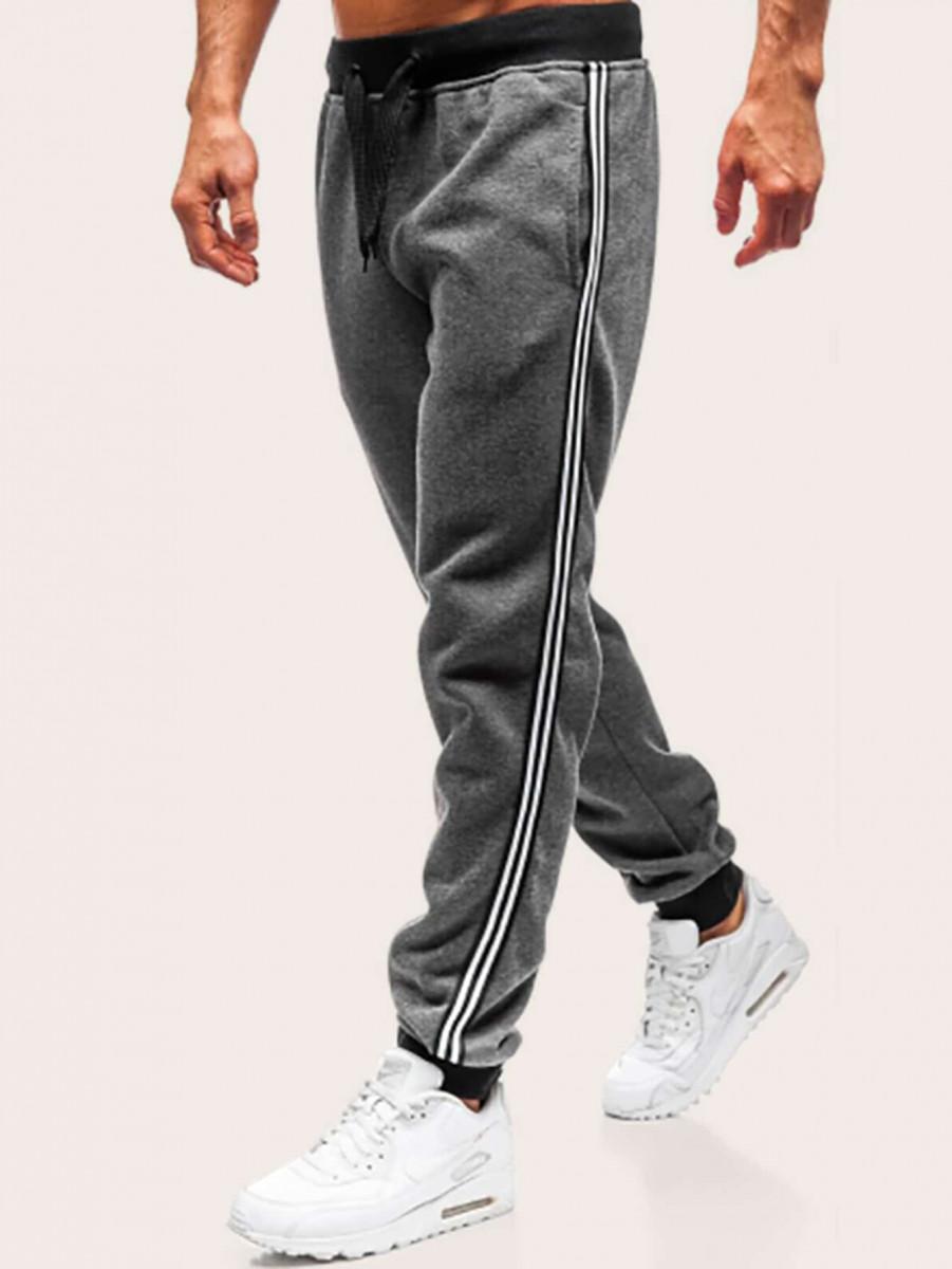 Men Side Stripe Drawstring Sweatpants