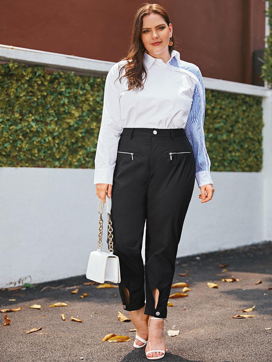 Plus Grommet & Zip Detail Corduroy Pants