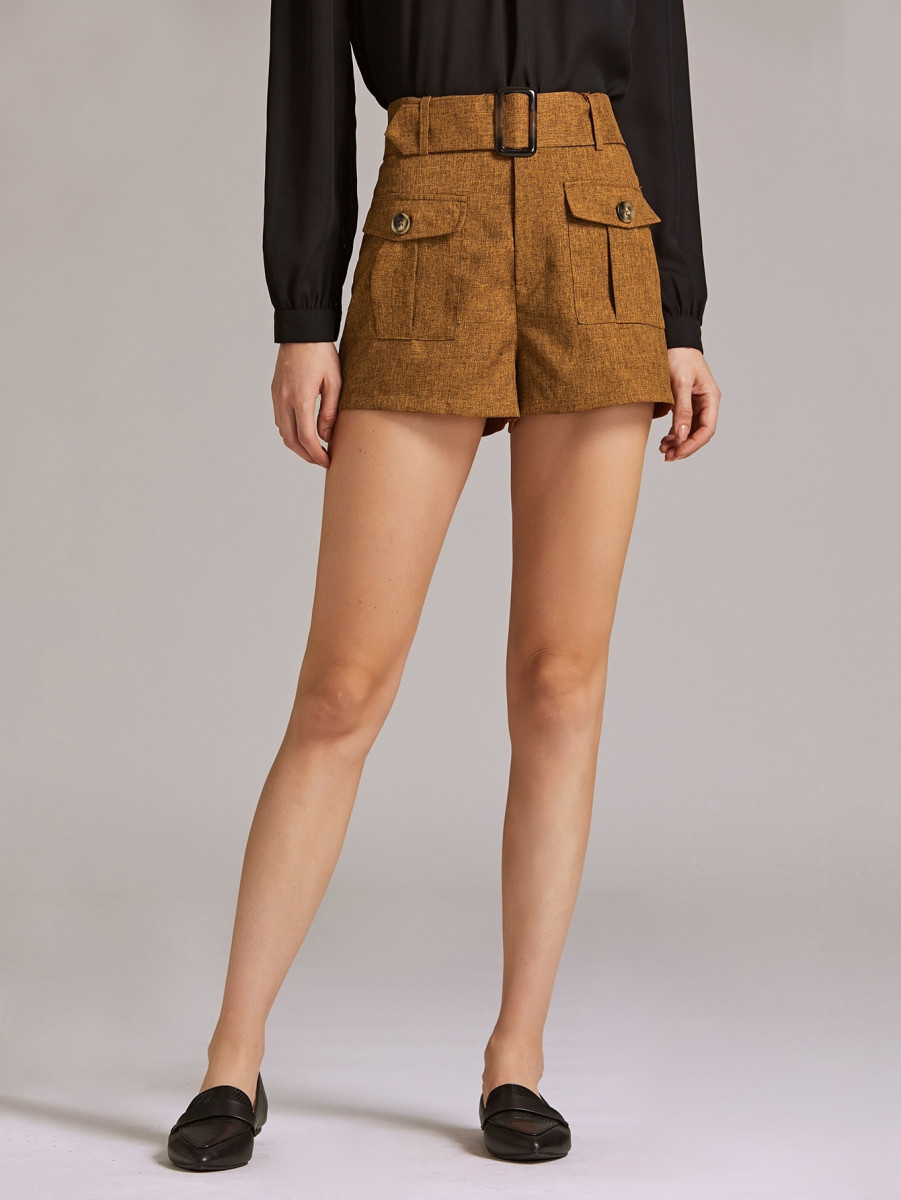 Dual Flap Pocket Front Shorts With Belt