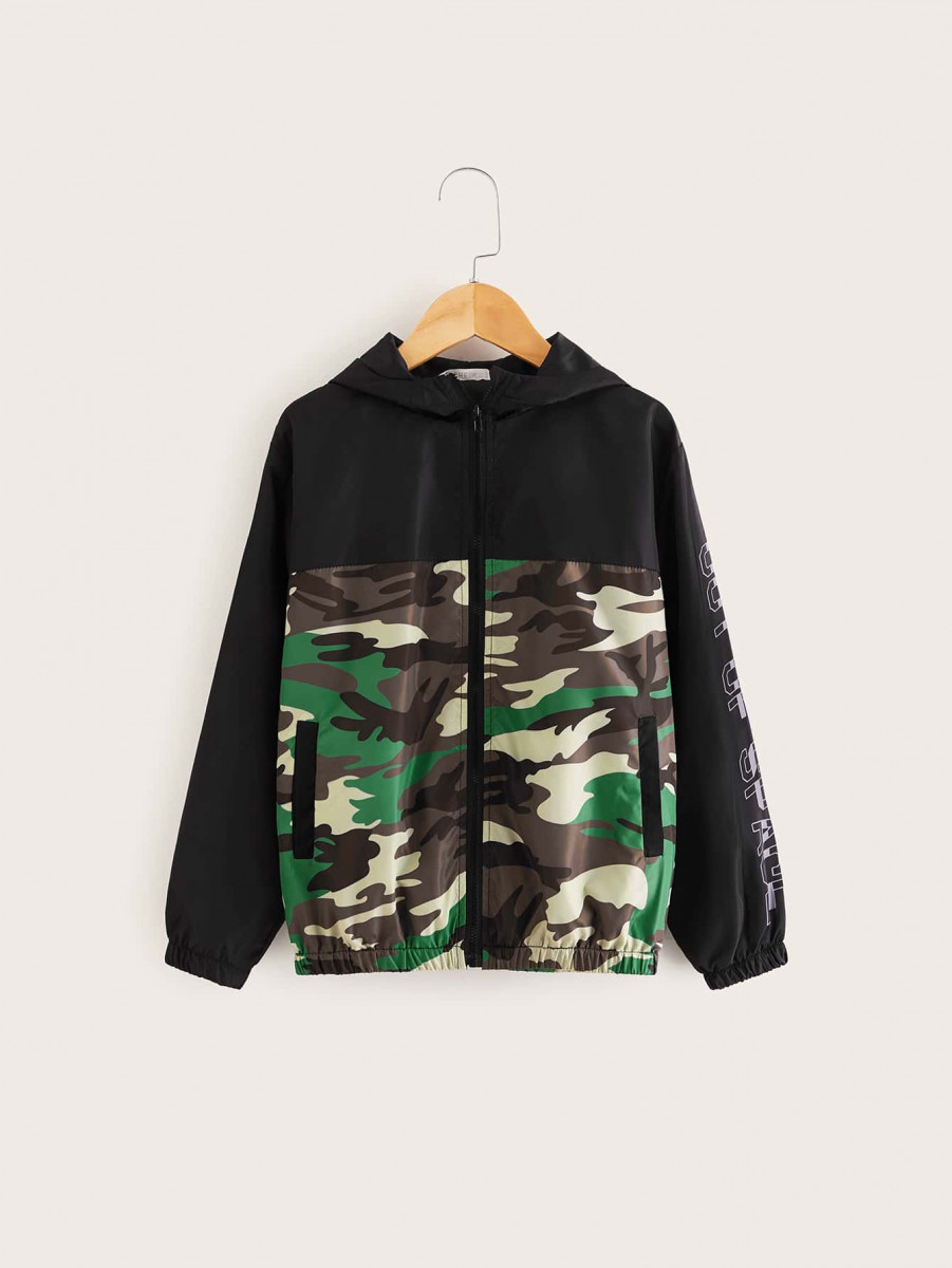 Boys Zip Up Camo Panel Slogan Sleeve Wind Hoodie