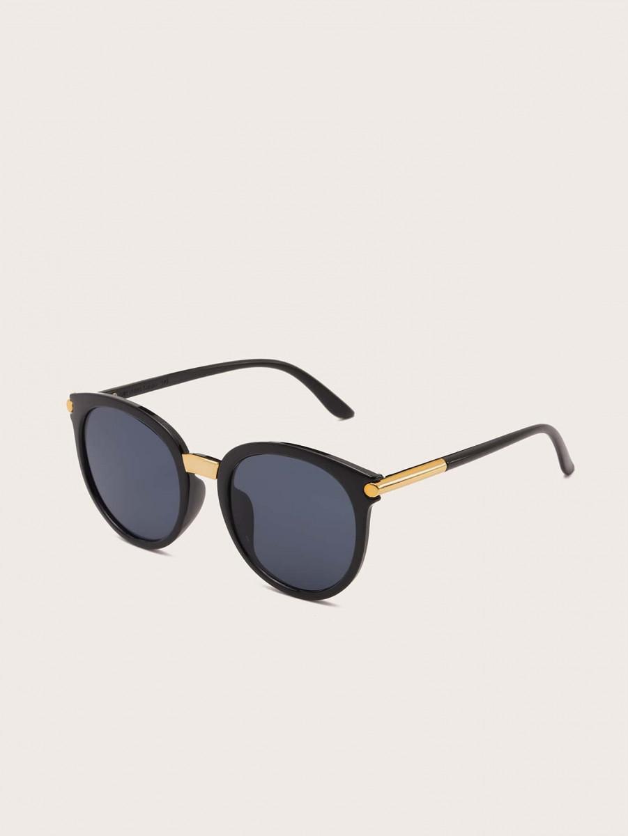 Men Plain Frame Flat Lens Sunglasses