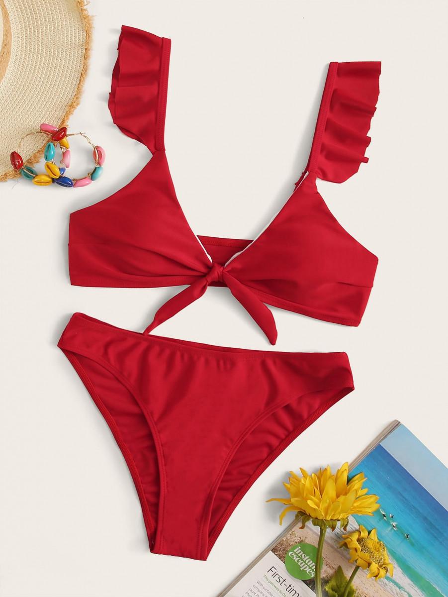 Solid Ruffle Trim Knot Front Bikini Set