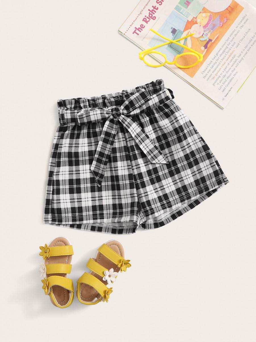 Toddler Girls Tartan Plaid Paperbag Waist Shorts