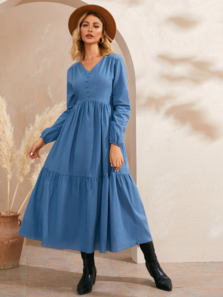Solid V-Neck Covered Button Through Dress