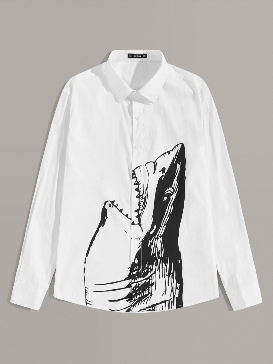 Men Button Front Shark Print Shirt