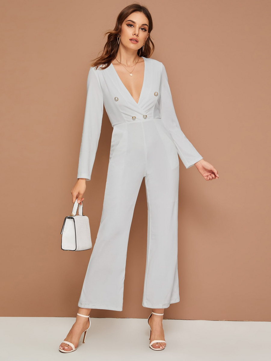 Plunging Pearls Button Detail Jumpsuit