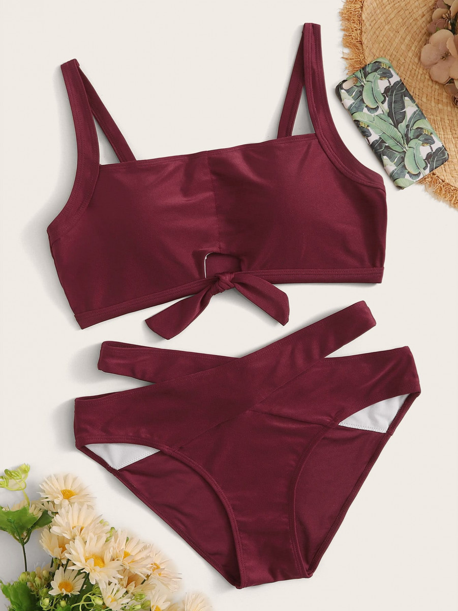 Knot Front Top With Criss Cross Bikini Set