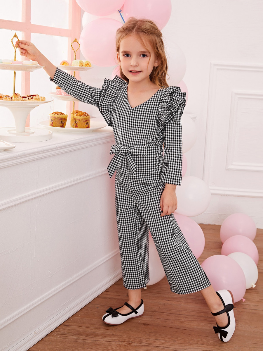 Toddler Girls Ruffle Trim Self Tie Gingham Jumpsuit