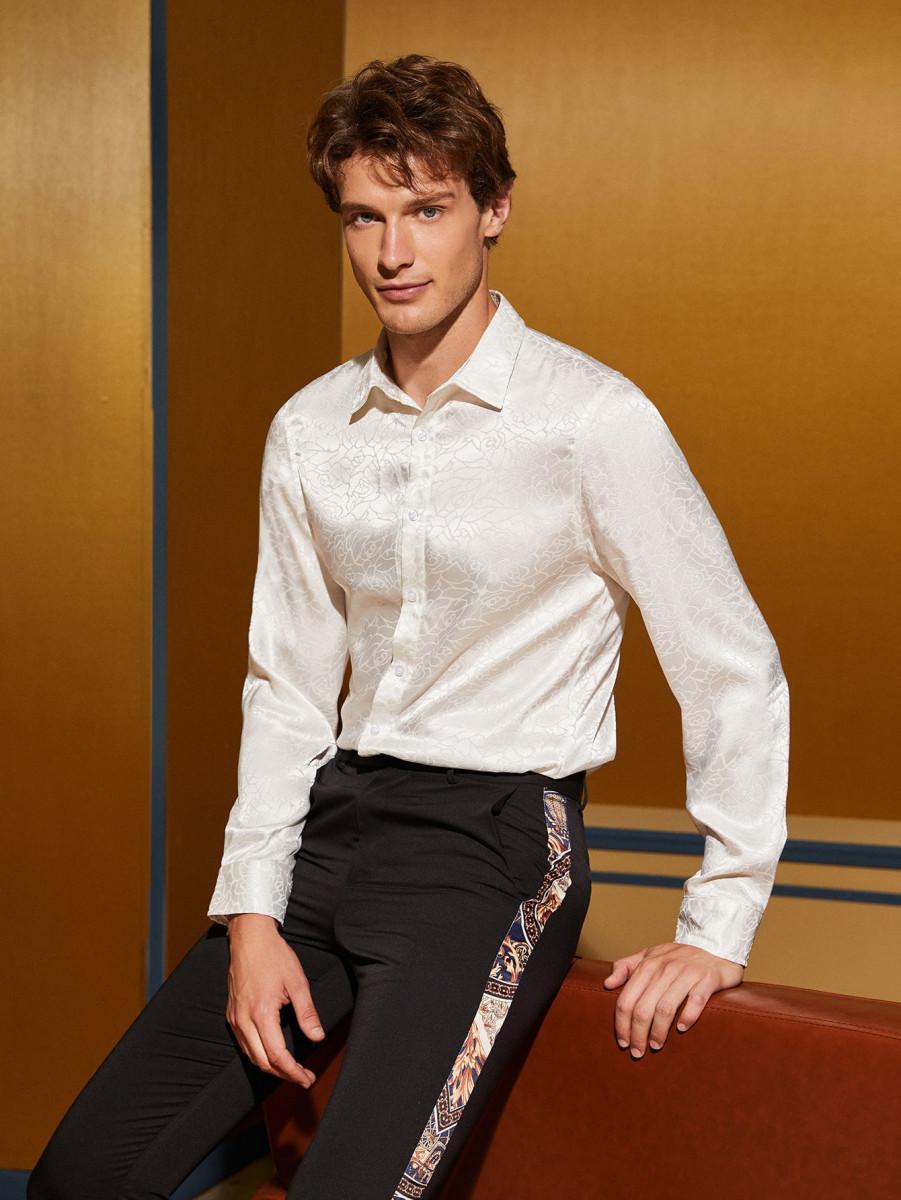 Men Button Front Jacquard Shirt