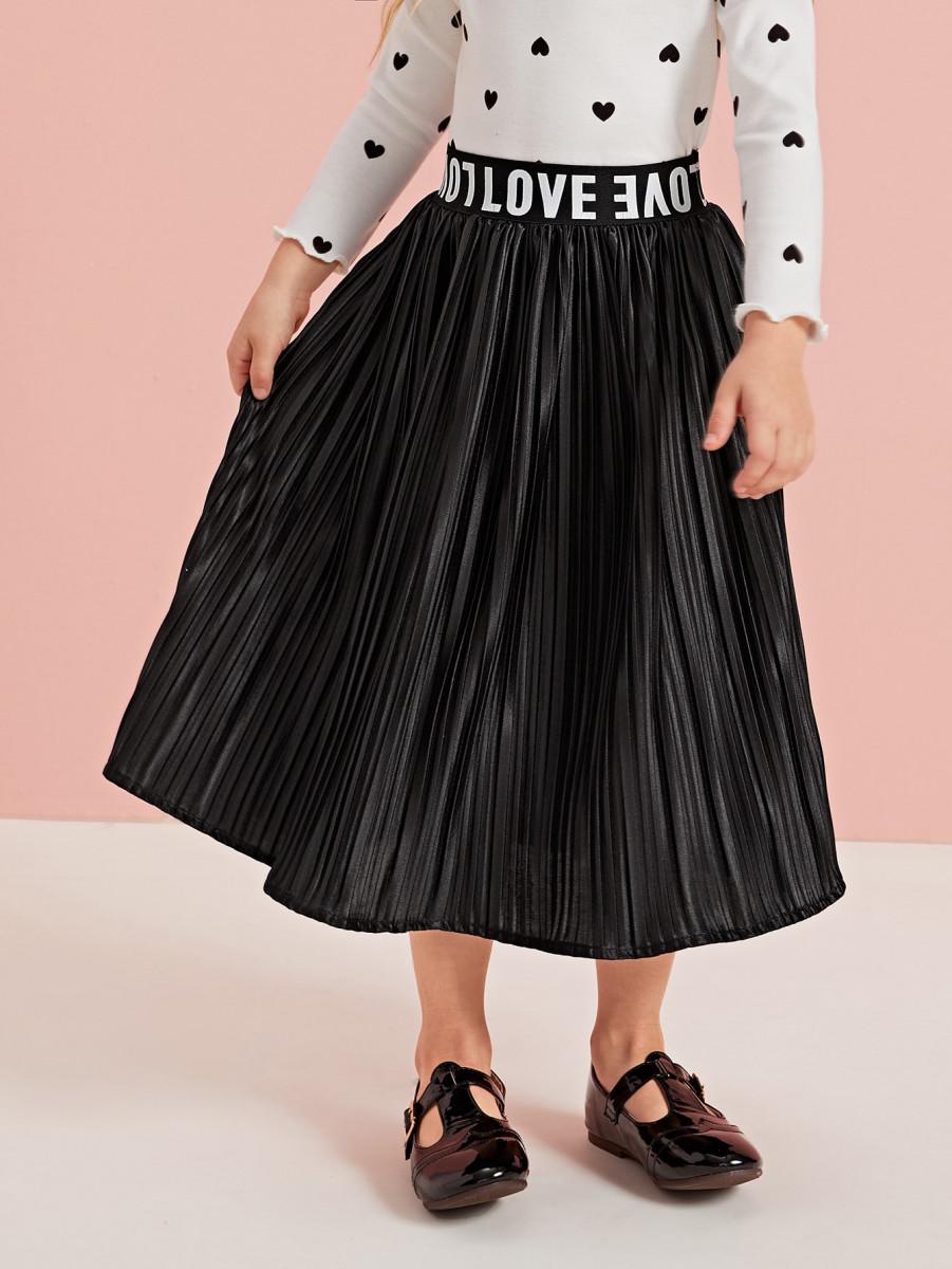 Toddler Girls Letter Tape Pleated Skirt
