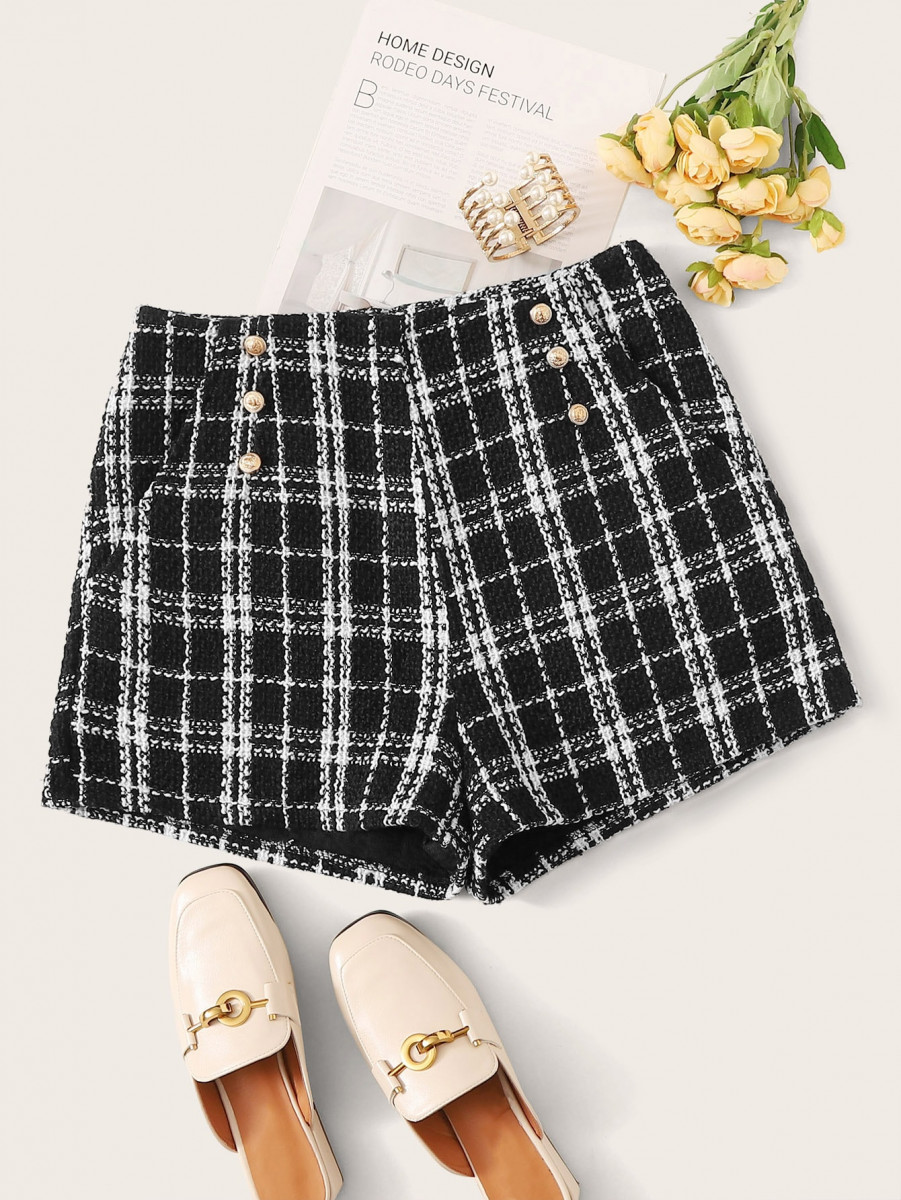 Plaid Double Button Tweed Straight Shorts