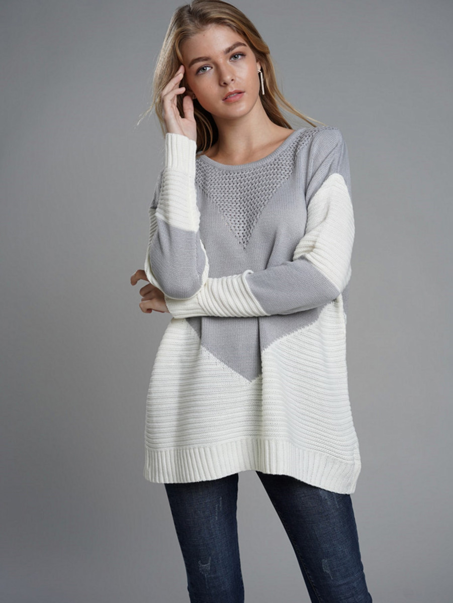 Contrast Panel Ribbed Knit Sweater
