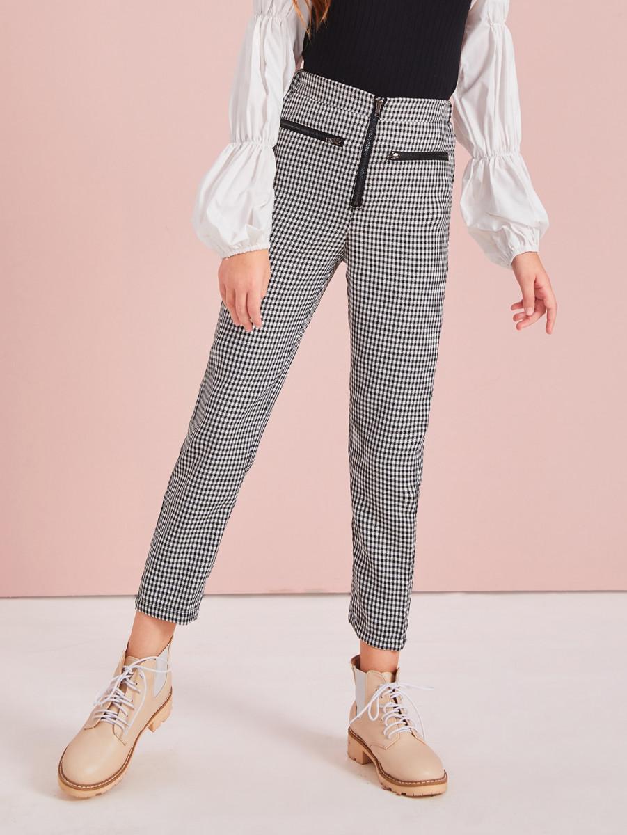 Girls Zipper Fly Gingham Print Pants